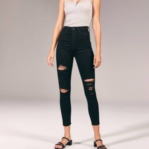 Abercrombie & Fitch Ultra High Rise Super Skinny Distressed Black Ankle Jeans